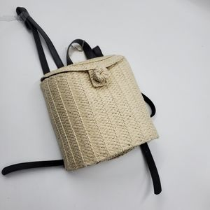 A New Day Straw Basket Backpack Natural